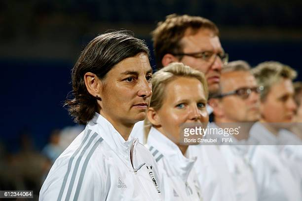 Head coach Anouschka Bernhard of Germany looks on prior to the FIFA U17 Women's World Cup Jordan Group B match between Germany and Canada at Amman...