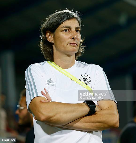 AZ ZARQA' JORDAN OCTOBER 07 Head coach Anouschka Bernhard of Germany looks on prior to the FIFA U17 Women's World Cup Group B match between Germany...