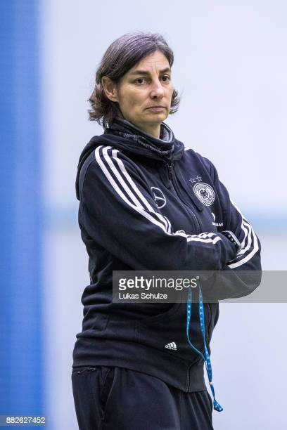 Head Coach Anouschka Bernhard of Germany looks up prior to the U17 Girls friendly match between Finland and Germany at the Eerikkila Sport Outdoor...