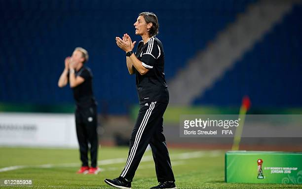 Head coach Anouschka Bernhard of Germany reacts during the FIFA U17 Women's World Cup Jordan Group B match between Germany and Canada at Amman...