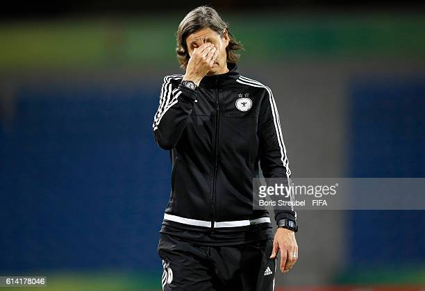 Head Coach Anouschka Bernhard of Germany shows her frustration after losing the FIFA U17 Women's World Cup Quarter Final match between Germany and...