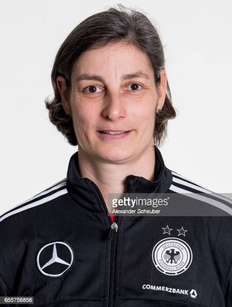 Head coach Anouschka Bernhard poses during germany U17 girl's team presentation on March 20 2017 in Grunberg Germany