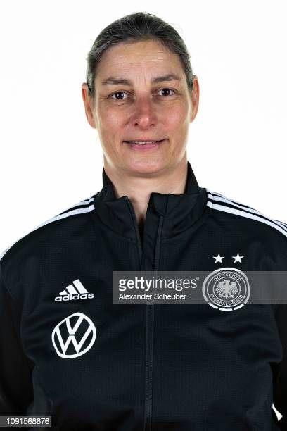 Head coach Anouschka Bernhard poses during the Germany Under16 girl's team presentation on January 29 2019 in Kamen Germany