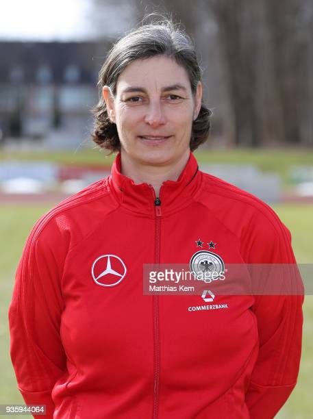 Head coach Anouschka Bernhard poses during the U17 Girl's Germany team presentation at Volksstadion on March 21 2018 in Greifswald Germany