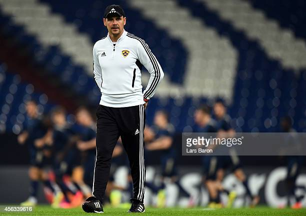 Head coach Ante Simundza looks on during a NK Maribor training session prior to their Champions League match against FC Schalke 04 at Veltins Arena...