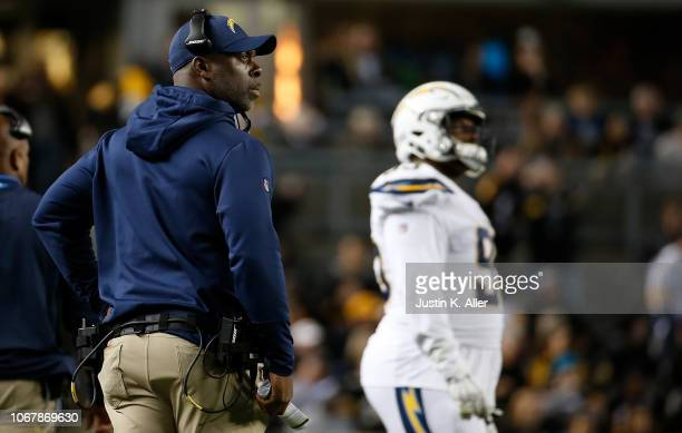 head coach Anthony Lynn of the Los Angeles Chargers looks on in the first half during the game against the Pittsburgh Steelers at Heinz Field on...