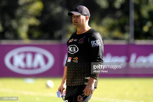 Head coach Anthony Seibold looks on during a Brisbane Broncos NRL training session at the Clive Berghofer Centre on July 07 2020 in Brisbane Australia