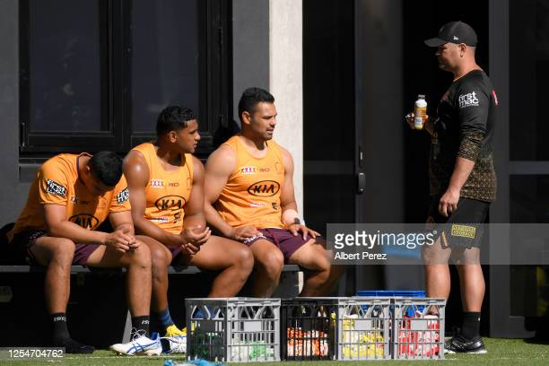 Head coach Anthony Seibold talks to players during a Brisbane Broncos NRL training session at the Clive Berghofer Centre on July 07 2020 in Brisbane...