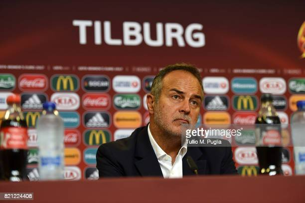 Head coach Antonio Cabrini answers questions during a press conference after the UEFA Women's Euro 2017 Group B match between Germany and Italy at...
