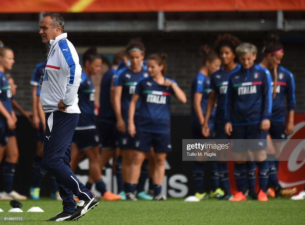 Head coach Antonio Cabrini of Italy leads a training session, on the eve of their UEFA Women's 2017 Group B match against Russia, at Sparta Stadion Het Kasteel on July 16, 2017 in Rotterdam, Netherlands.