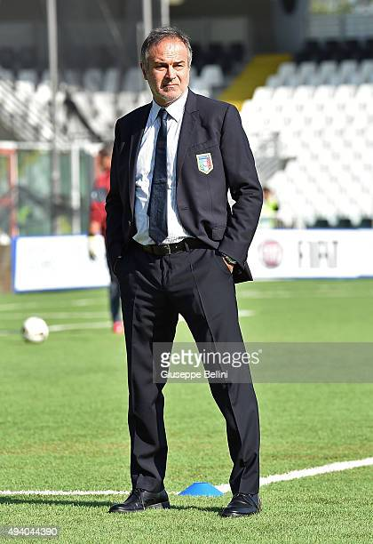 Head coach Antonio Cabrini of Italy looks on before the UEFA Women's Euro 2017 Qualifier between Italy and Switzerland at Dino Manuzzi Stadium on...