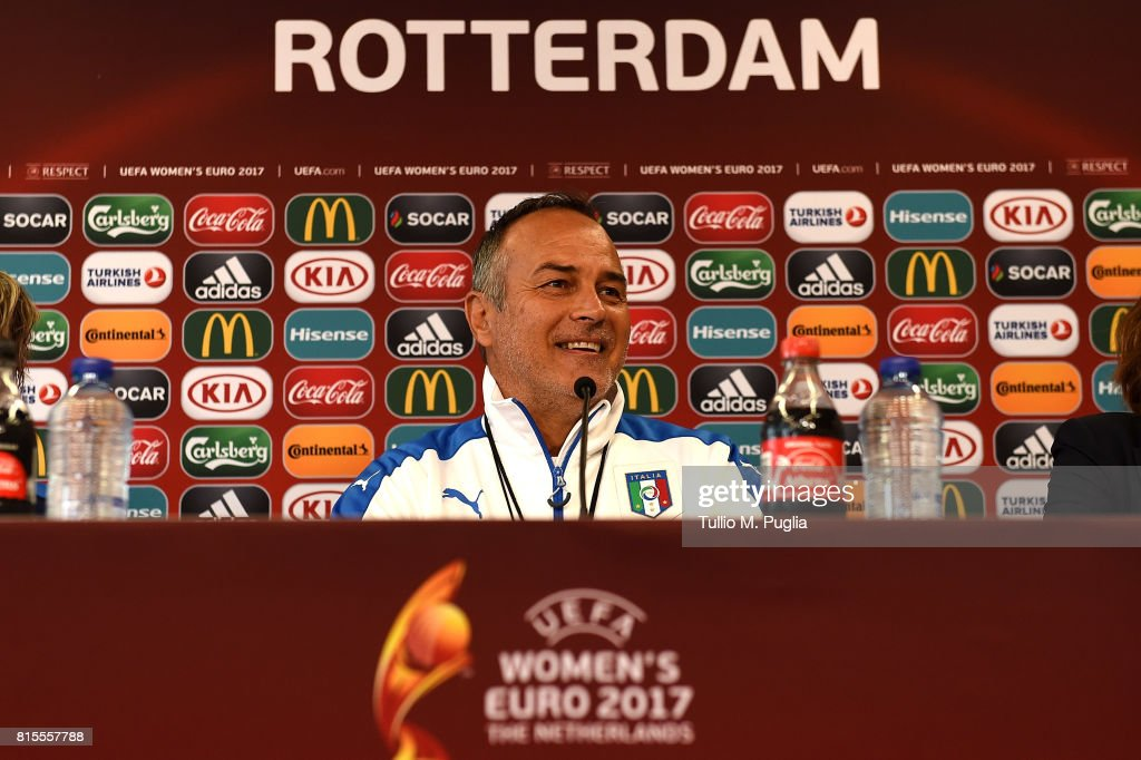 Head Coach Antonio Cabrini of Italy women's national team answers questions during a press conference during the UEFA Women's EURO 2017at Sparta Stadion Het Kasteel on July 16, 2017 in Rotterdam, Netherlands.