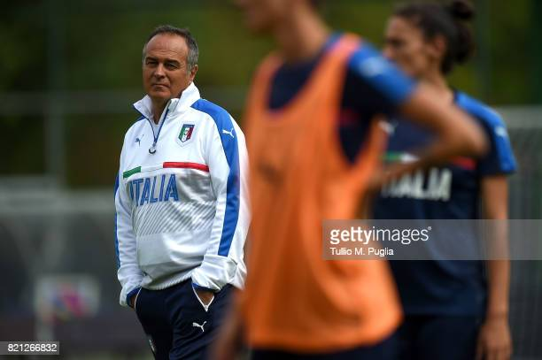 Head coach Antonio Cabrini of Italy women's national team leads a training session during the UEFA Women's EURO 2017 at De Zwervers training center...
