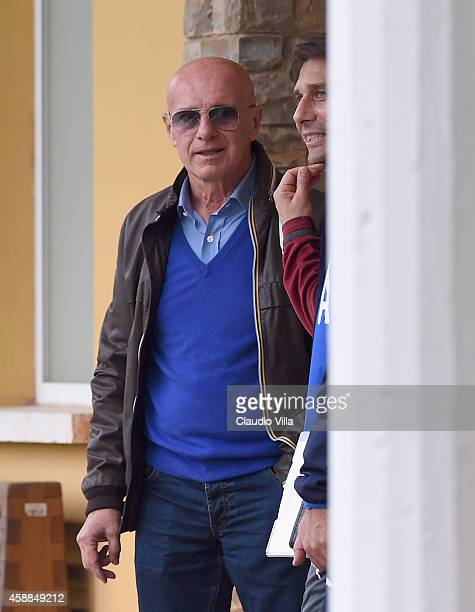 Head coach Antonio Conte and Arrigo Sacchi prior to the Italy Training Session at Coverciano on November 12 2014 in Florence Italy