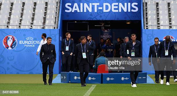 Head coach Antonio Conte attends a pitch walkabout at Stade de France on June 26 2016 in Paris France