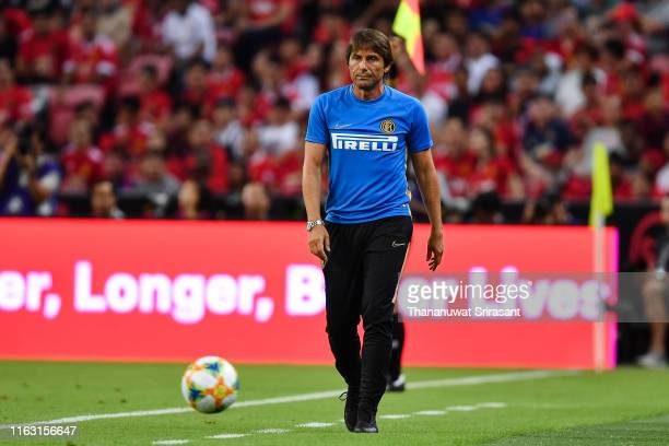 Head coach Antonio Conte is seen during the 2019 International Champions Cup match between Manchester United and FC Internazionale at the Singapore...