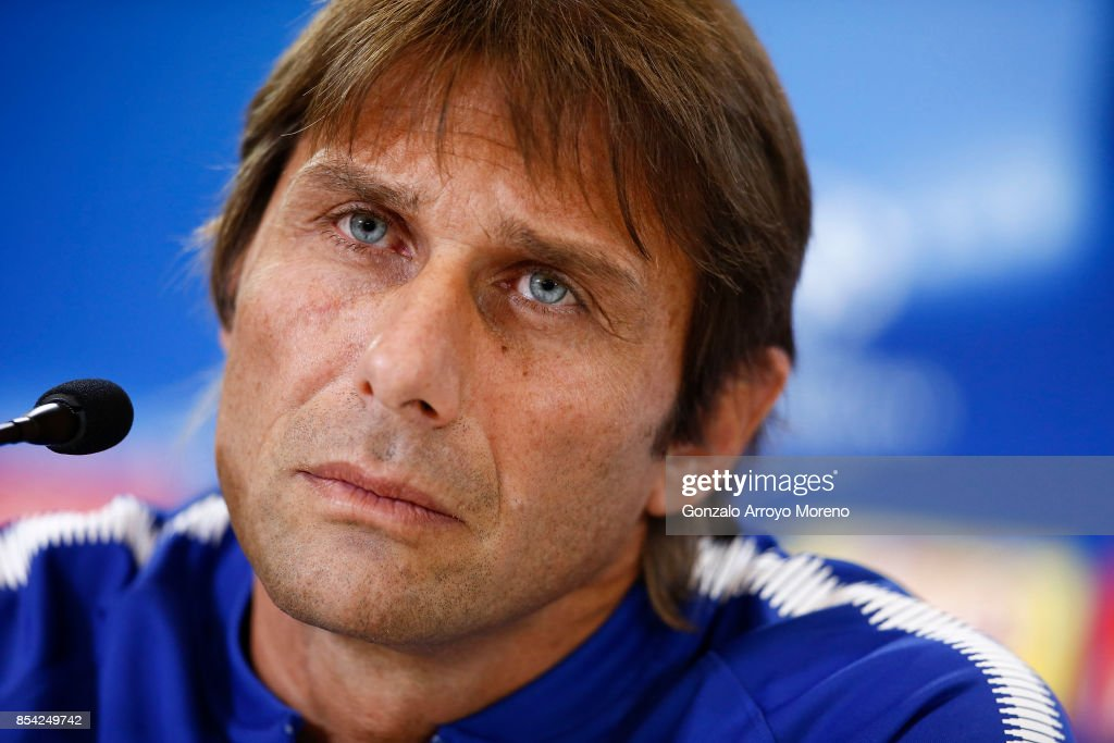 Head coach Antonio Conte of Chelsea FC answers questions from the media during a press conference ahead of the UEFA Champions League Group C match between Atletico de Madrid and Chelsea FC at Wanda Metropolitano stadium on September 26, 2017 in Madrid, Spain.
