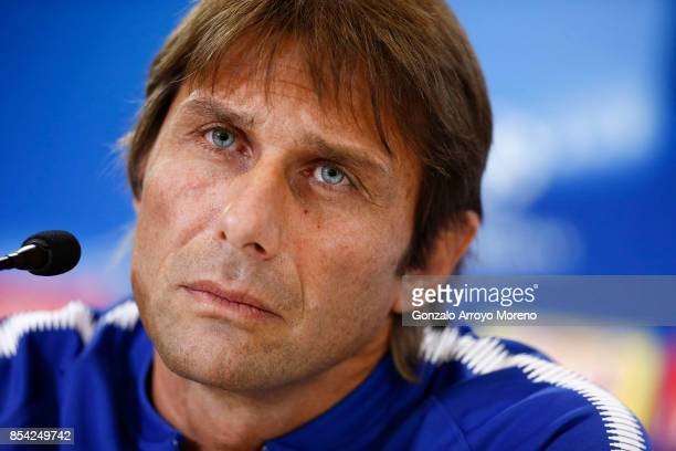Head coach Antonio Conte of Chelsea FC answers questions from the media during a press conference ahead of the UEFA Champions League Group C match...