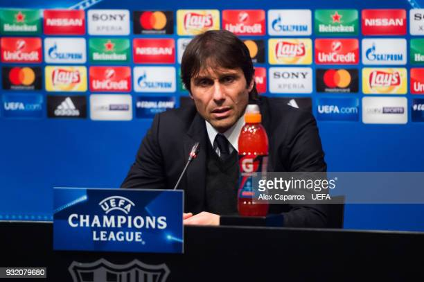 Head Coach Antonio Conte of Chelsea FC faces the media after the UEFA Champions League Round of 16 Second Leg match between FC Barcelona and Chelsea...