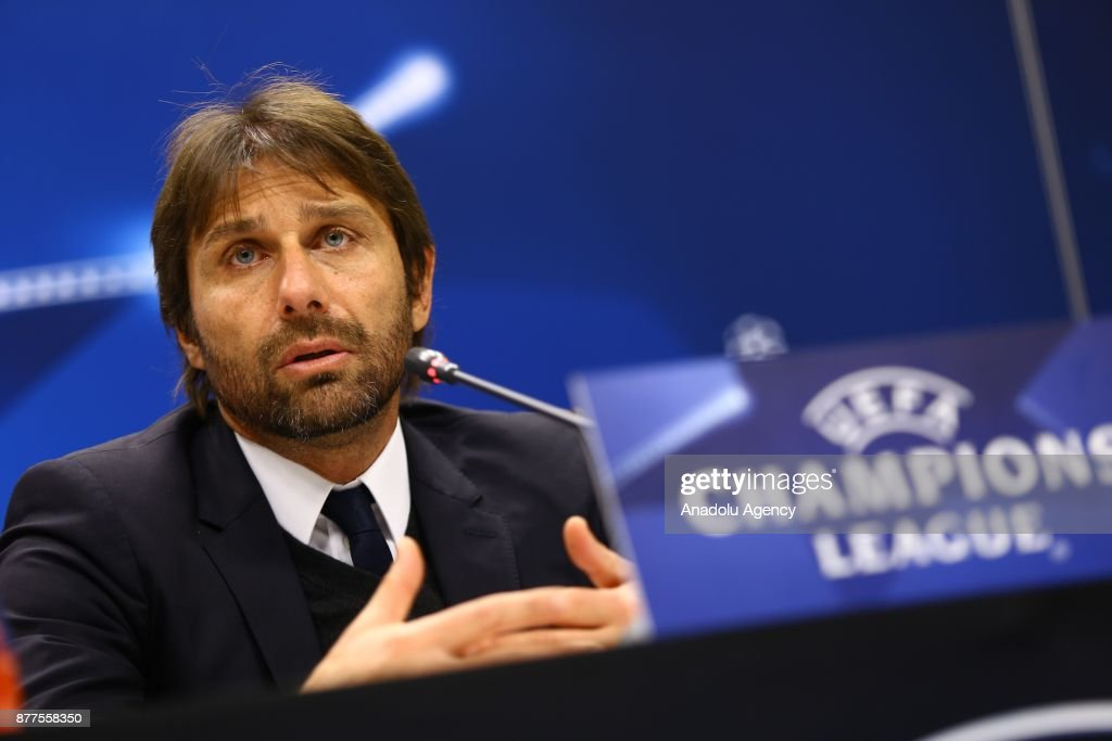 Head coach Antonio Conte of Chelsea holds a press conference after the UEFA Champions League Group C soccer match between Qarabag and Chelsea at the Baku National Stadium in Baku, Azerbaijan on November 22, 2017.