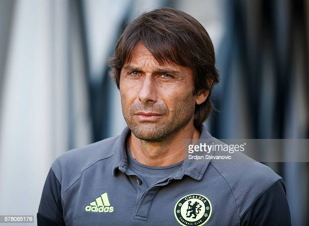 Head coach Antonio Conte of Chelsea looks on prior the friendly match between WAC RZ Pellets and Chelsea FC at Worthersee Stadion on July 20 2016 in...