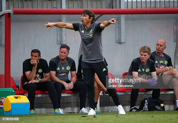 Head coach Antonio Conte of Chelsea reacts during the international friendly match between WAC RZ Pellets and Chelsea FC at Worthersee Stadion on...