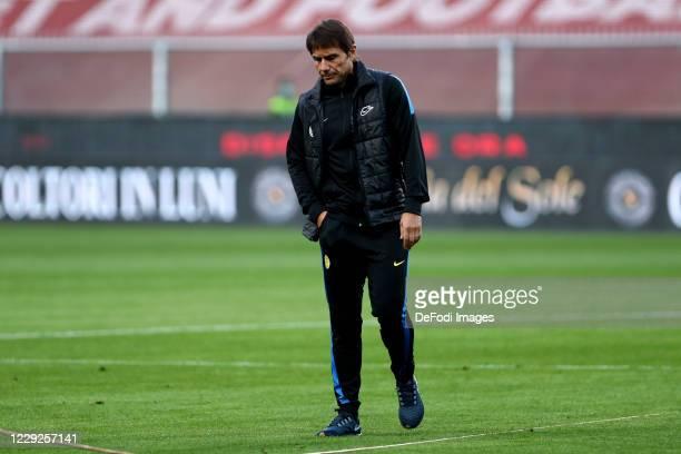 head coach Antonio Conte of FC Internazionale looks on prior to the Serie A match between Genoa CFC and FC Internazionale at Stadio Luigi Ferraris on...