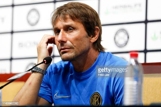 Head coach Antonio Conte of FC Internazionale speaks during a press conference after the International Champions Cup match between Juventus and FC...