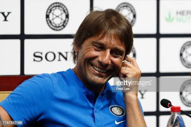 Head coach Antonio Conte of FC Internazionale speaks during the FC Internazionale official press conference at the Nanjing Olympic Center Stadium on...