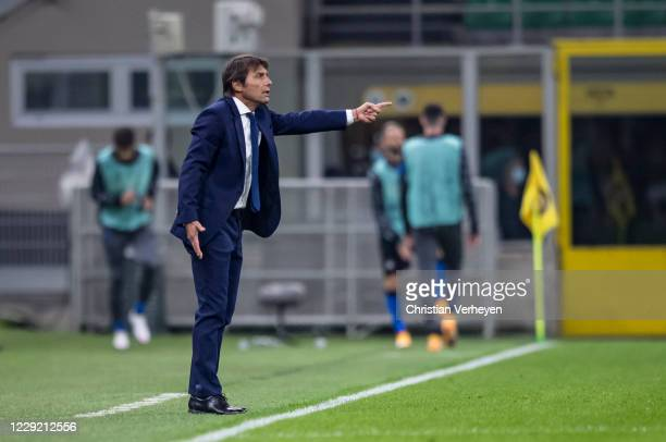 Head Coach Antonio Conte of Inter in action during the Group B UEFA Champions League match between FC Internazionale and Borussia Moenchengladbach at...