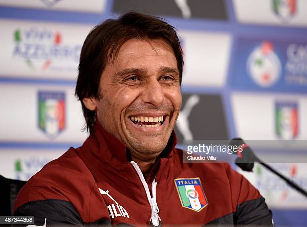 Head coach Antonio Conte of Italy during Press Conference at Coverciano on March 23 2015 in Florence Italy
