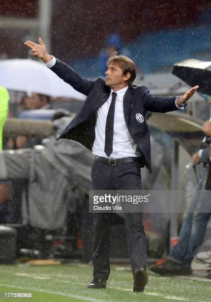 Head coach Antonio Conte of Juventus reacts during the Serie A match between UC Sampdoria and Juventus at Stadio Luigi Ferraris on August 24 2013 in...