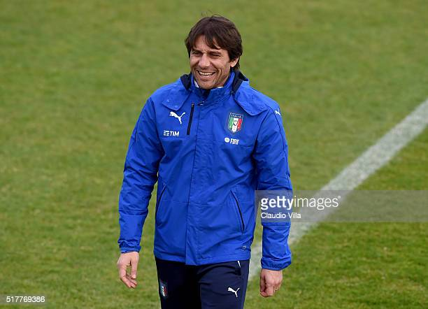 Head Coach Antonio Conte smiles during the Italy training session at the club's training ground at Coverciano on March 27 2016 in Florence Italy
