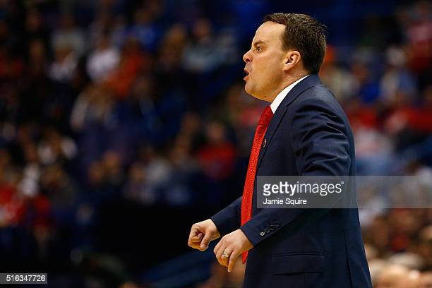 head coach Archie Miller of the Dayton Flyers reacts on the sideline in the second half against the Syracuse Orange during the first round of the...