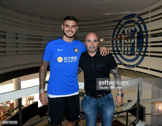 Head coach Argentina Jorge Sampaoli and Mauro Icardi of FC Internazionale pose for a photo at Appiano Gentile on August 3 2017 in Como Italy