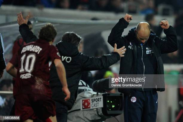 Head coach Arie van Lent of Offenbach celebrates after the DFB Cup match between Kickers Offenbach and Fortuna Duesseldorf at...