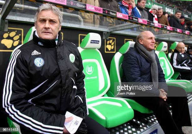 Head coach Armin Veh and Manager Dieter Hoeness of Wolfsburg are seen prior to the Bundesliga match between VfL Wolfsburg and 1. FC Koeln at...