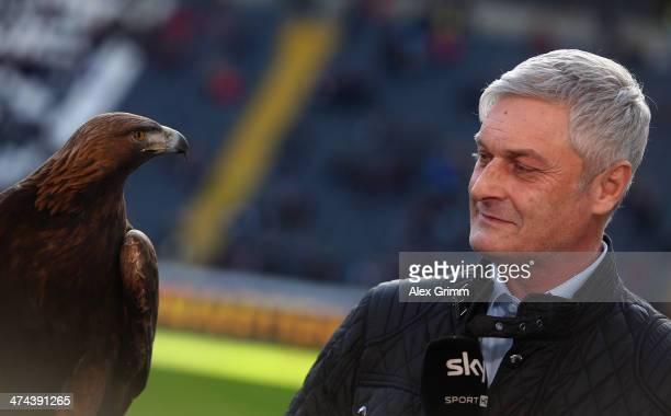 Head coach Armin Veh and mascot 'Attila' of Frankfurt prior to the Bundesliga match between Eintracht Frankfurt and Werder Bremen at Commerzbank...