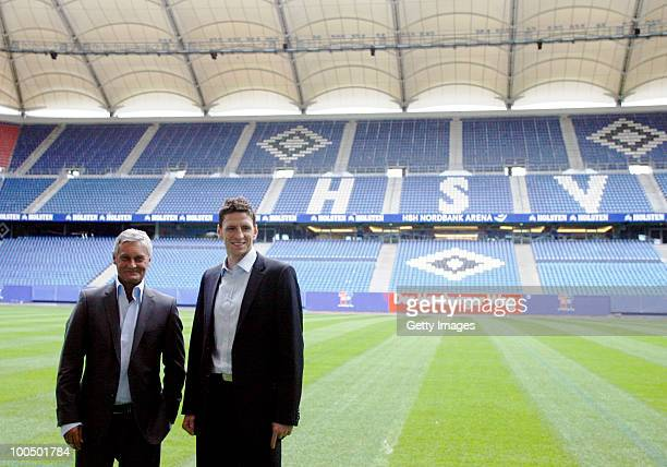 Head coach Armin Veh and sport director Bastian Reinhardt pose after the press conference to present the new head coach Armin Veh and the new sport...