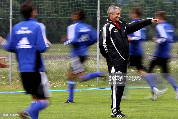 Head coach Armin Veh gestures during the pre-season training camp of Hamburger SV at the Aqua Dome hotel on July 29, 2010 in Langenfeld, Austria.