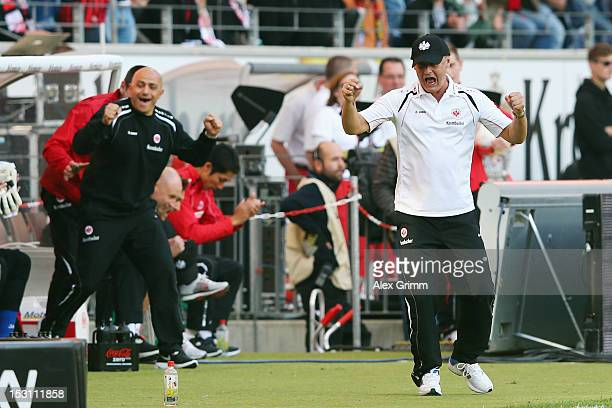 Head coach Armin Veh of Frankfurt celebrates after the Bundesliga match between Eintracht Frankfurt and SC Freiburg at Commerzbank-Arena on September...