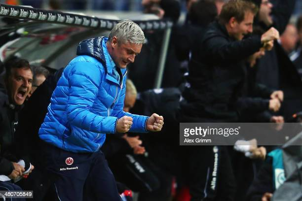 Head coach Armin Veh of Frankfurt celebrates after the final whistle of the Bundesliga match between Eintracht Frankfurt and Borussia...