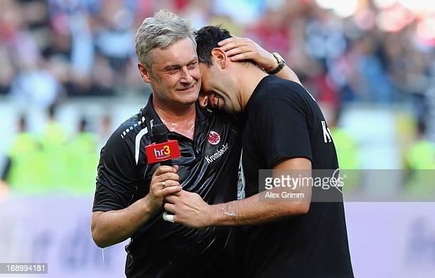 Head coach Armin Veh of Frankfurt hugs goalkeeper Oka Nikolov after the Bundesliga match between Eintracht Frankfurt and VfL Wolfsburg at...