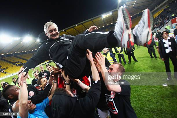 Head coach Armin Veh of Frankfurt is thrown in the air after the Second Bundesliga match between Alemannia Aachen and Eintracht Frankfurt at Tivoli...