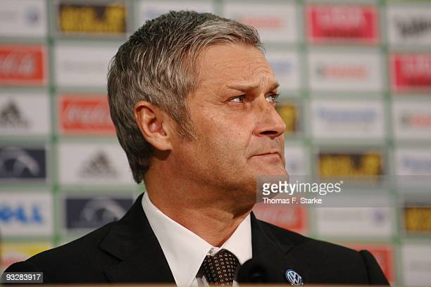 Head coach Armin Veh of Wolfsburg looks on at the press conference after the Bundesliga match between VfL Wolfsburg and 1. FC Nuernberg at the...