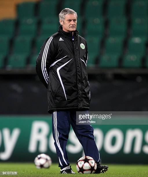 Head coach Armin Veh of Wolfsburg looks on during a training session at the Volkswagen Arena on December 7, 2009 in Wolfsburg, Germany. VfL Wolfsburg...