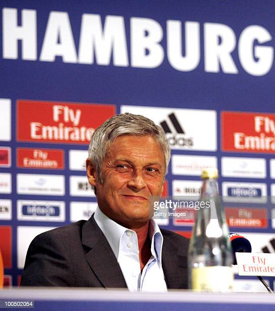 Head coach Armin Veh smiles during a press conference to present the new head coach Armin Veh and the new sport director Bastian Reinhardt of...