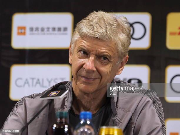 Head coach Arsene Wenger of Arsenal FC attends a press conference ahead of 2017 International Champions Cup football match between Bayern Munich and...