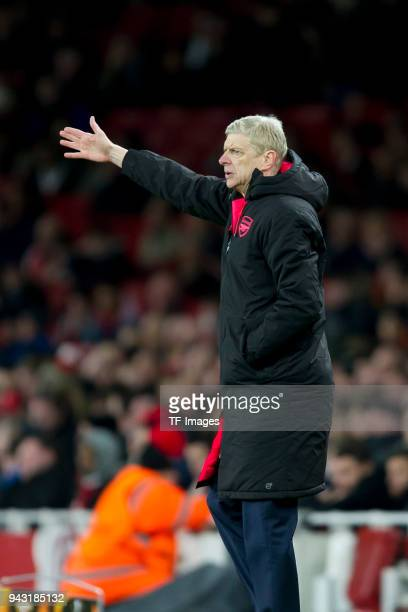Head coach Arsene Wenger of Arsenal gestures during the UEFA UEFA Europa League QuarterFinal first leg match between Arsenal FC and CSKA Moskva at...