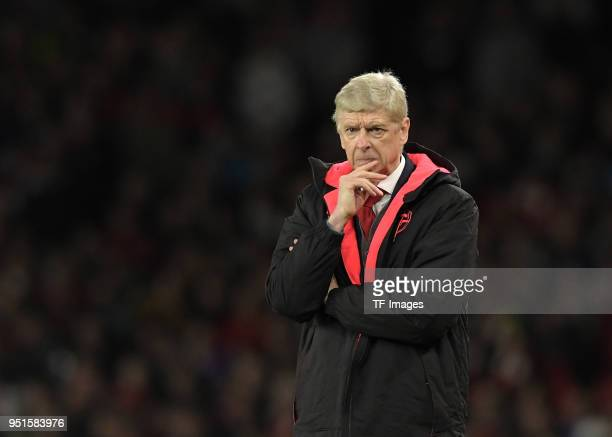 Head coach Arsene Wenger of Arsenal looks on during the UEFA Europa League Semi Final leg one match between Arsenal FC and Atletico Madrid at...